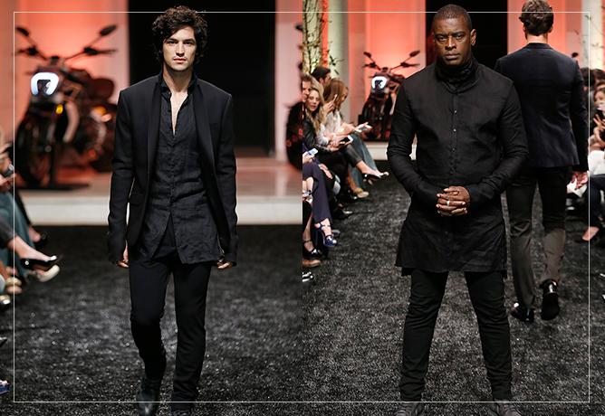 Gabriel Leone e Seu Jorge desfilam as peças do novo projeto do estilista
