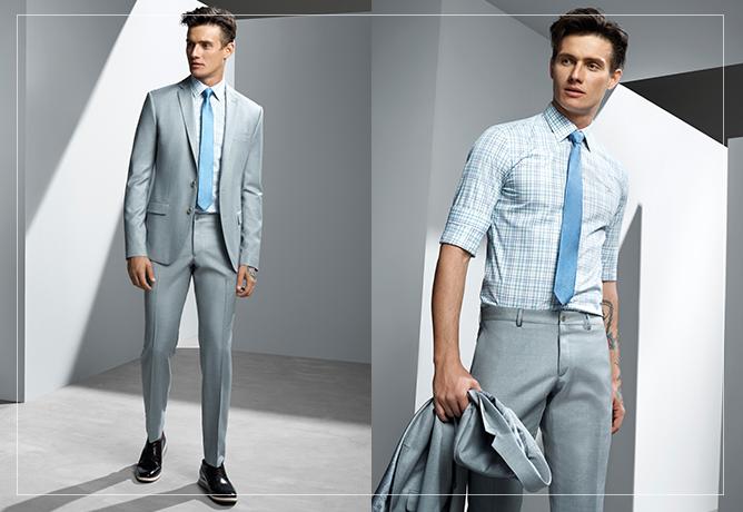 Cinza e azul: combinação impecável na alfaiataria.