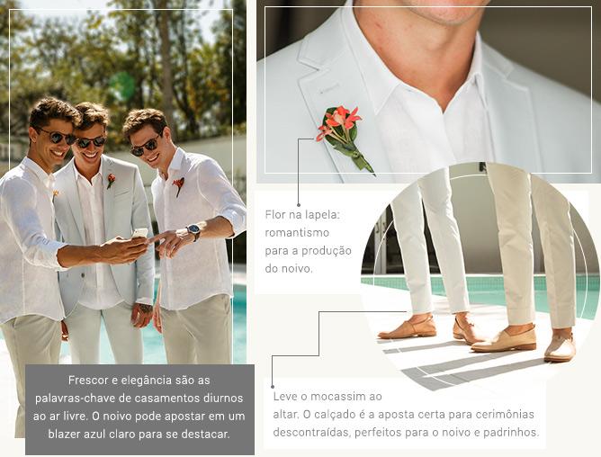 Casamento diurno mais informal: o noivo com blazer azul ganha protagonismo de forma elegante e se destacada entre os padrinhos e convidados.
