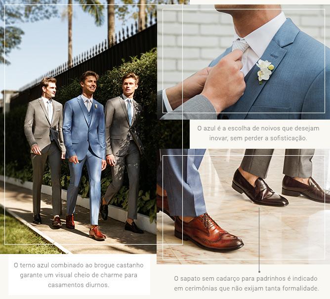 Terno azul + sapato marrom: combinação impecável para um noivo de estilo.