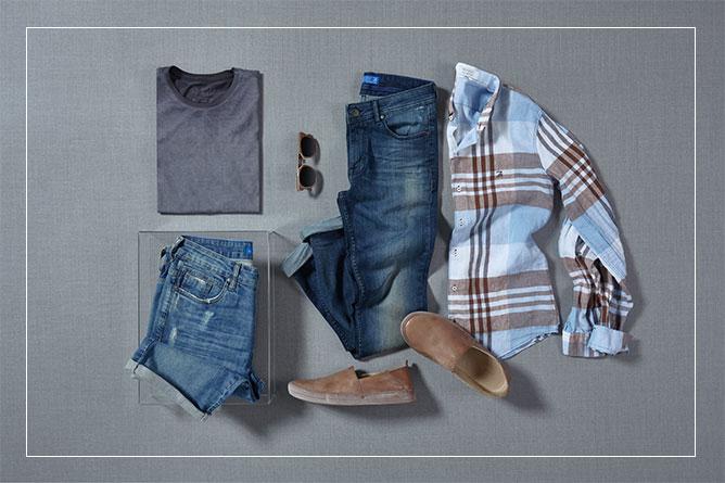 Camisa de linho xadrez + jeans: produção casual impecável.